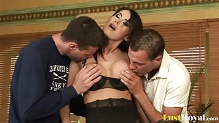 Three cocks for the beautiful babe Eva Karera