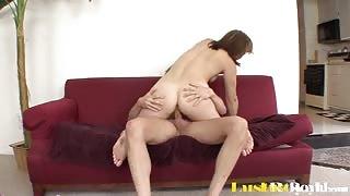 Brunette Teen Babe Brooke Logan Rides A Big Cock